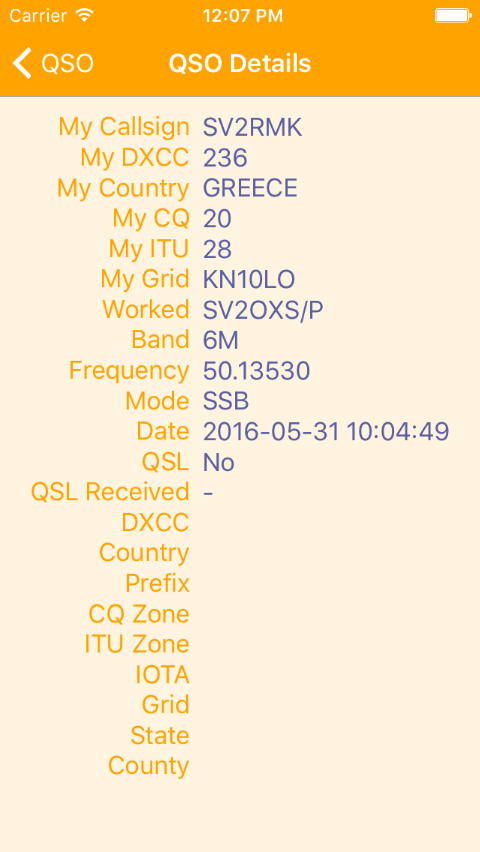 Viewing QSO details.