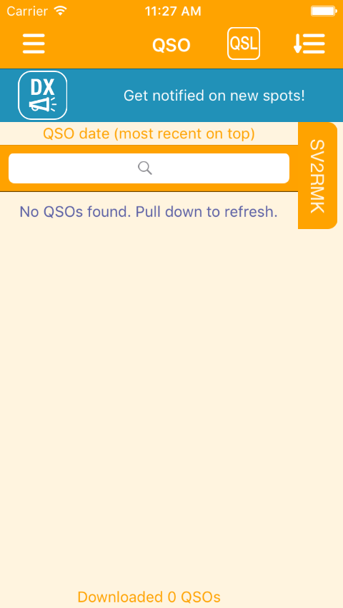 Empty QSO page. Pull down to download QSOs.
