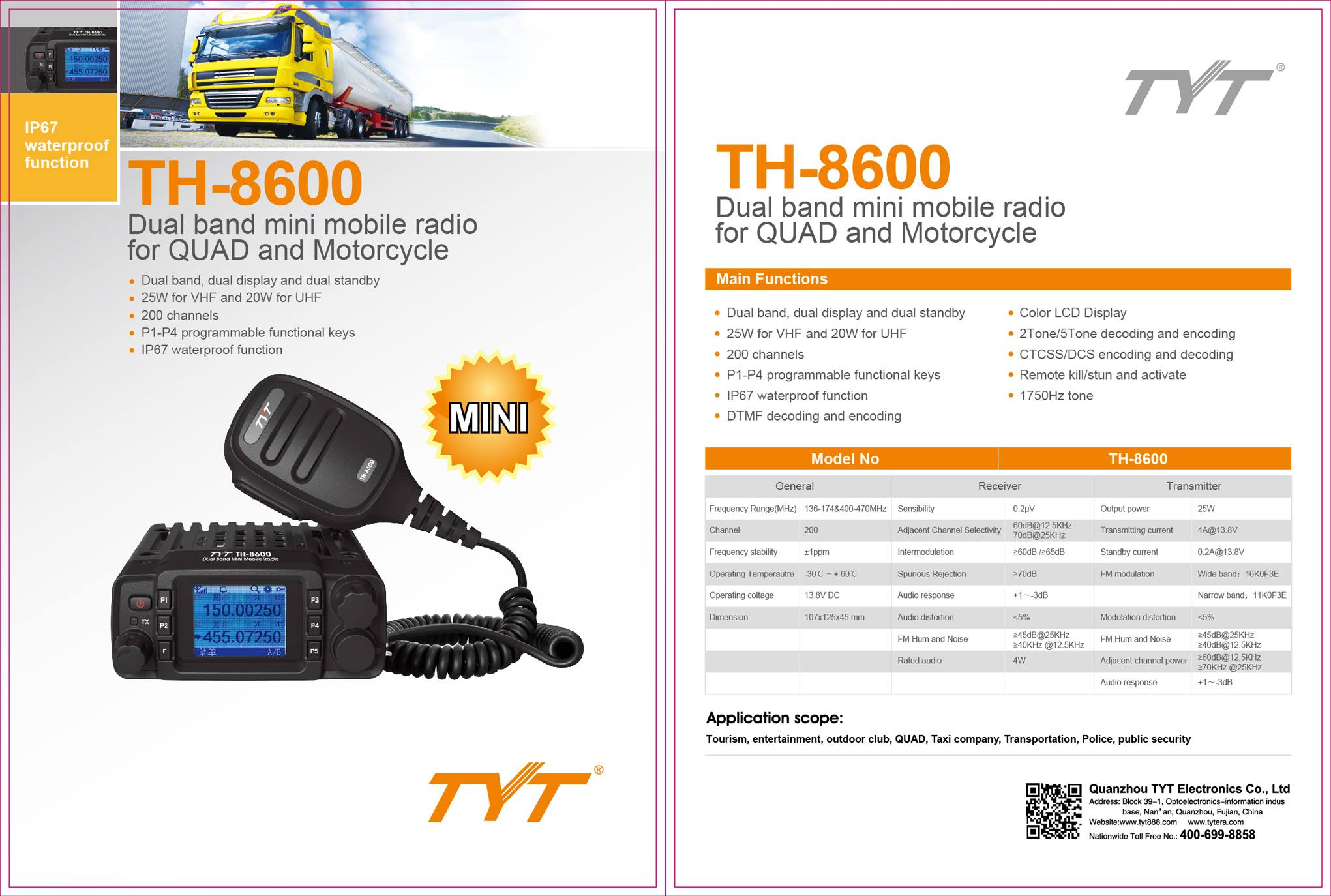 TYT TH-8600 Mini Mobile Radio