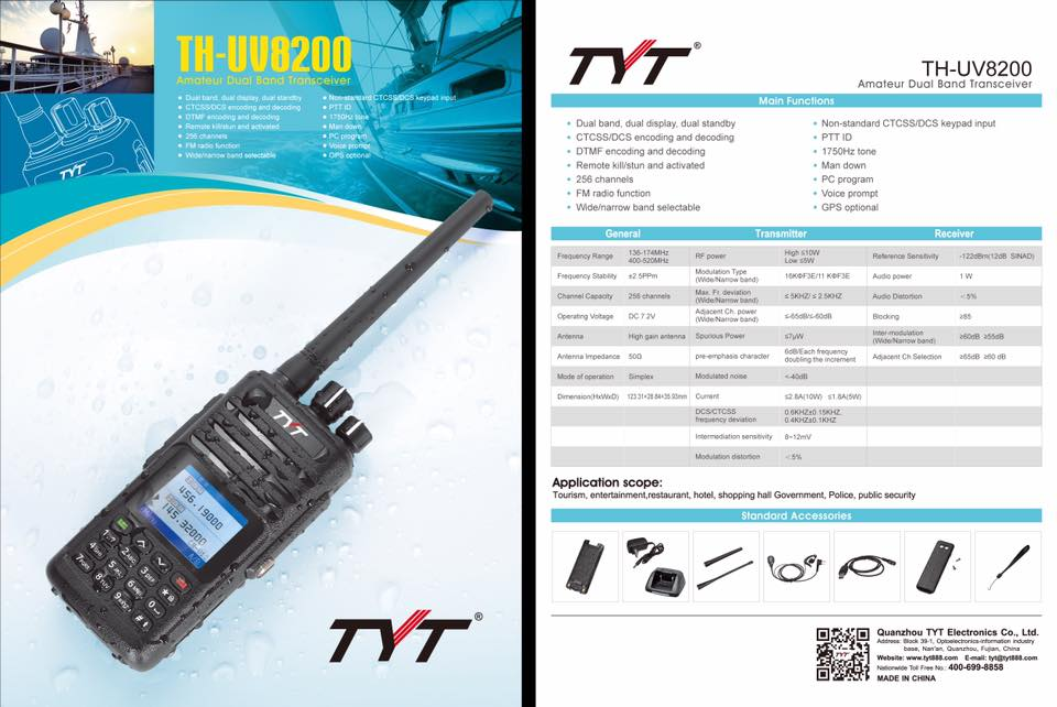 TYT Announced TH-UV8200 Analog HT